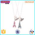 Großhandelsmetalllegierungs-Kristall-Eiffelturm-hängende Halskette