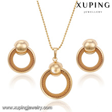 63825 Xuping new fashion jewelery set 18k gold pendant and earring without stone