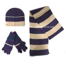 2015 moda inverno malha chapéu luva cachecol conjunto