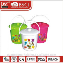 wholesale 5 litter white plastic buckets with lid and handle