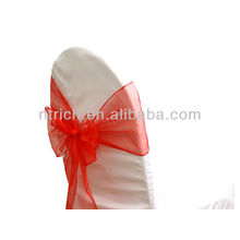 rojo, vogue cristal organza silla marco lazo detrás, corbata de lazo, nudo, cubierta wedding de la silla y mantel