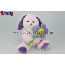 Розовая игрушка зайчика заполненная животная игрушка с цветком солнца по мере того как Валентайн подарки Bos1155
