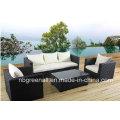 Alumínio Frame Wicker Mobiliário Rattan Sofá Set para Jardim (9059)