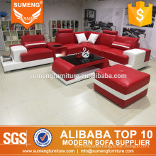 european style unique classic red leather sofa sets,real picture sofa in factory