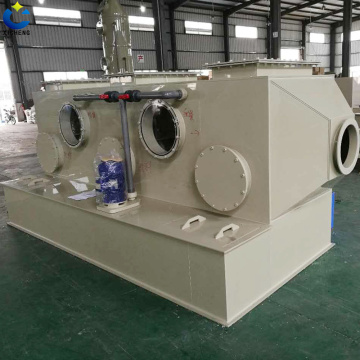 Industrial waste gas treatment by horizontal scrubber