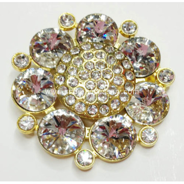 Stylish Zinc Alloy Flower Shoe Buckles with Rhinestone