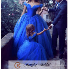 Sexy Quinceanera Dresses Royal Blue Pearl Off Shoulder Ball Gown with Custom Made Flower Girl Dress Prom Party Gown