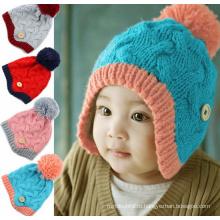Младенческая шерстяная многоцветная зимняя теплая шляпа с наушниками с милым шаром