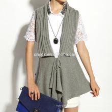 16STC8102 Gilet en laine de cachemire col tricoté cardigan long ouvert