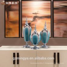 Promotion par usine de décoration de jardin en céramique chinoise beactiful living room office table décoration vase en verre pièces à vendre