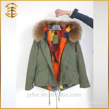 La fábrica al por mayor de encargo Fox de la chaqueta espesa la piel verdadera encapuchada Parka
