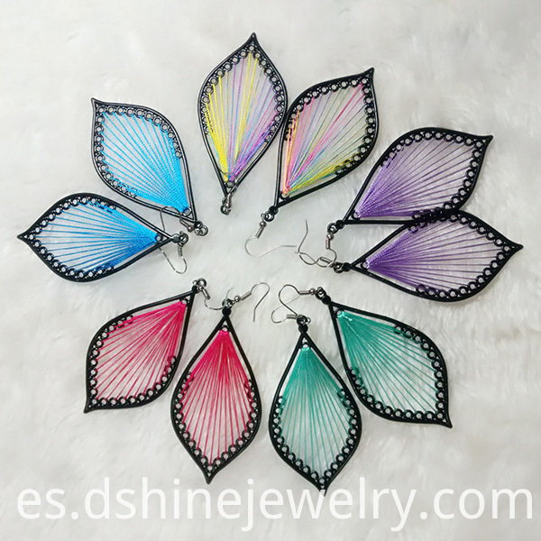 Silk Thread Leaf Shape Earring