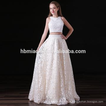 Fleur de dentelle d'OEM longues robes de soirée formelle de mariage perles robe de soirée