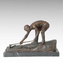 Statue de vie de l'est Village Farmer Bronze Sculpture TPE-379