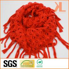 Acrylic Fashion Lady Orange Knitted Neck Scarf with Knotted Fringe