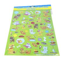 Adorável gato e cão dos desenhos animados adesivo Feliz vida engraçado adesivo de diário personagem adesivos
