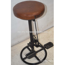 Industrial Reclaimed Bar Stool Leather Seat Bicycle Parts