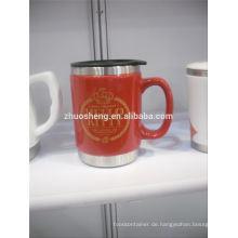 hohen Nachfrage Produkte Keramiktasse mit Edelstahl Basis, Keramik Kreide Tasse