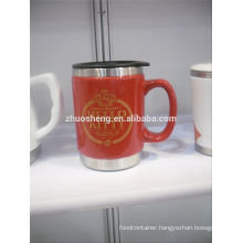 high demand products ceramic mug with stainless steel base, ceramic chalk mug