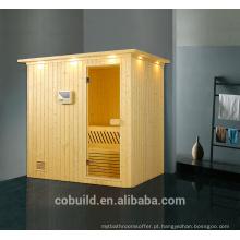 K-715 Novo design sala de sauna de madeira sólida sauna em forma retangular sauna a vapor, sauna seca sauna a vapor