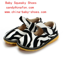 Zebra Printing Baby Girl Shoes Squeaky Shoes