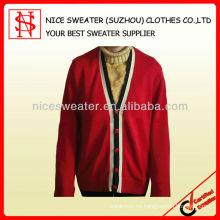 Hombres de manga larga de punto más suéter cuello en V