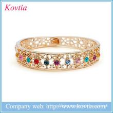 Ouro 18k liga de cobre clássico bracelete saudi arabia jóia com cristal colorido