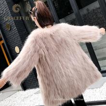 Высокая-конец кожа и натуральный мех енота пальто