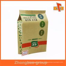 Fabricante gusset kraft papel personalizado nogal bolsos tipo cuádruple sello