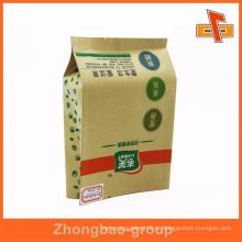 Fabricante lado gusset kraft papel personalizado walnut sacos quad tipo vedação
