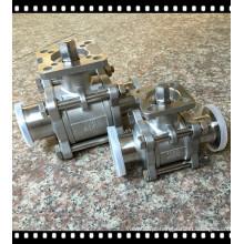 Válvula de esfera sanitária de 3 peças com almofada de montagem ISO 5211 Direcrt