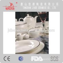 Puro oro cremoso micro-oro plata platino royal hueso China vajilla vajilla con diseño en relieve blanco