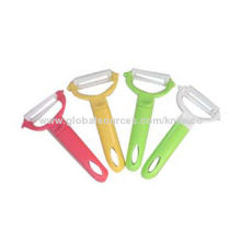 Smart ceramic peeler with colorful plastic handle