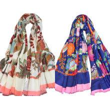 Womens Beach Voile weiche lange schöne Blumen Printed Wrap Schal Schal (SW106)