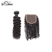 High Quality Water Wave Cuticle Aligned  Brazilian Human Hair Bundles With Closure No Shed Virgin 9A