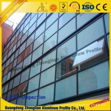 Perfil de alumínio para construção de paredes de cortina de portas e janelas