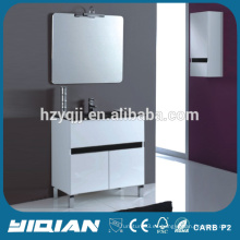 Encimera de vidrio negro con espejo de pie doble puerta de PVC impermeable gabinete de baño de vidrio