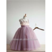 Vestido de bola feito sob medida Princesa Vestido de florista com cintas de espaguete Revestimento de Tulle de primeira comunhão para meninas ML086