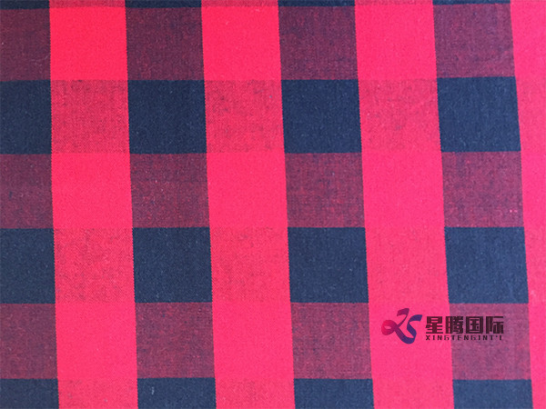 Red And Black Plaid Cotton Fabric