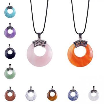 Circle Donut Healing Crystals Necklace Natural gemstone Chakra Amulet Lucky Coin Protection Quartz Reiki Pendant Men Women