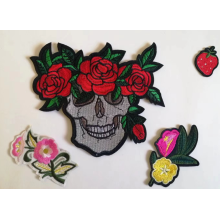 skull pattern embroidery patch backing glue