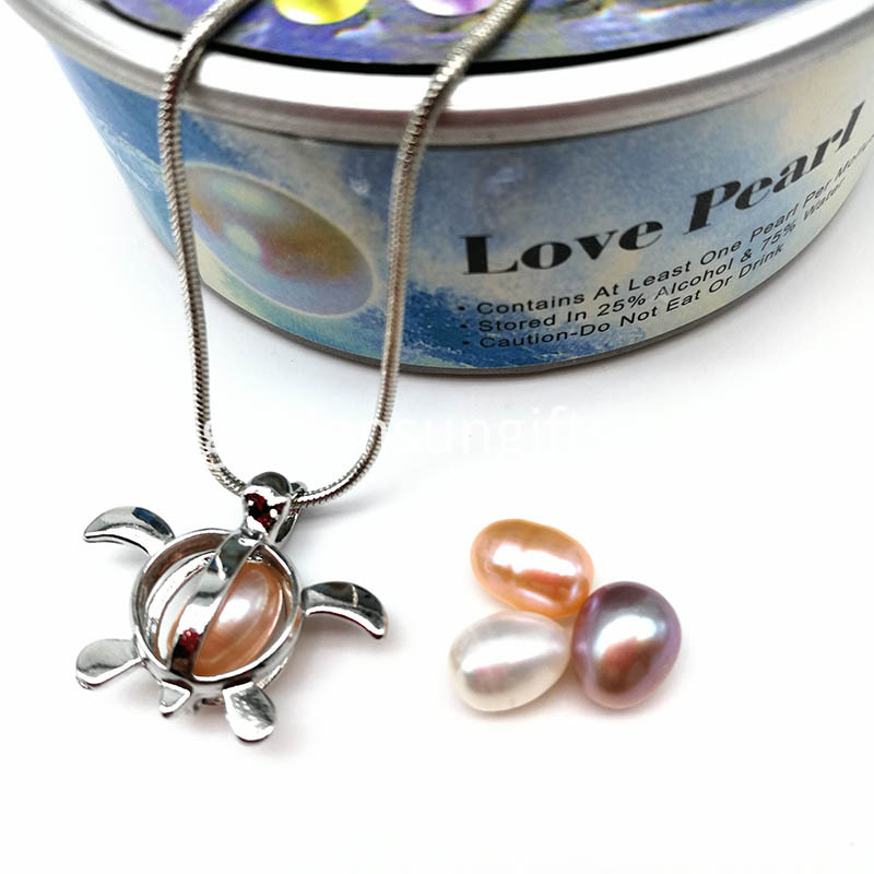 Turtle Design Cage Pendant With Pearl Beads