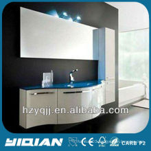 European Bathroom Furnishings Wall Mounted Blue Color Tempered Glass Washing Basin Gloss White Curved Door PVC Bathroom Cabinet