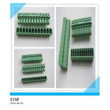 3.5mm Winkel 12 Pin / Way Green Steckbare Art Schraubklemmenblock Steckverbinder