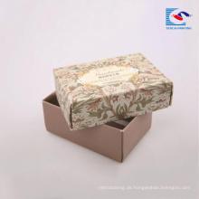 Blumen-gedruckter Geschenkpapier-Kasten-glänzender Laminierungs-Stellen-UVhandgemachte Seifen-Verpackung