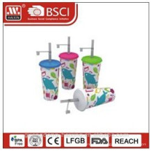 Popular plastic in-mould labeling cup with lid & straw 24OZ/0.68L