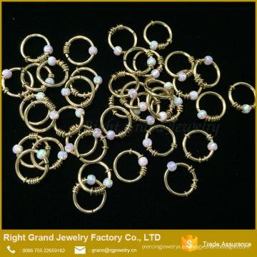 Anillo de nariz de lujo exclusivo Opal Ball Anillo de nariz de oro Indian Nose Piercing Jewelry