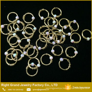 Unique Fancy Nose Rings Opal Ball Gold Nose Ring Indian Nose Piercing Jewelry