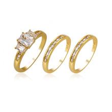 14127 anillo de juego de piedras preciosas sintéticas de cobre de color oro de 24K de lujo xuping