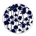 100% algodão criativo palmtree preto rodada toalha de praia RBT-173